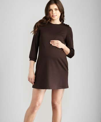 Brown Button Maternity Shift Dress