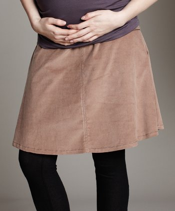 Maternal America Tan Over-Belly Corduroy Maternity Skirt