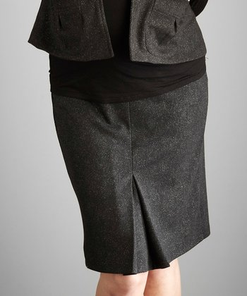 Black Shimmer Under-Belly Maternity Pencil Skirt