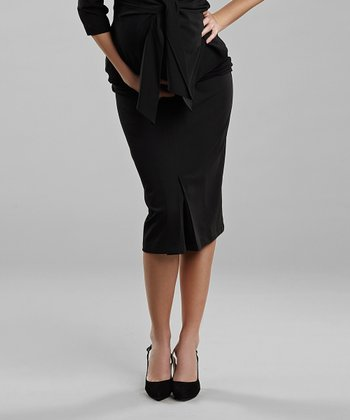 Black Under-Belly Maternity Pencil Skirt