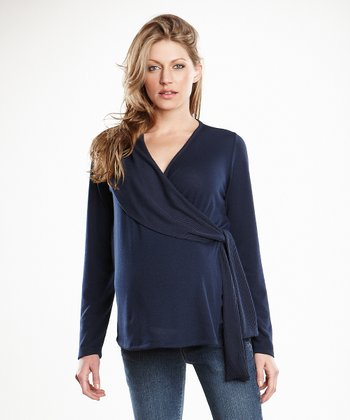 Maternal America Navy Maternity Wrap Sweater