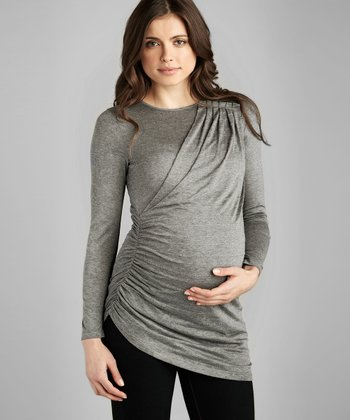 Heather Gray Shimmer Pleated Maternity Top