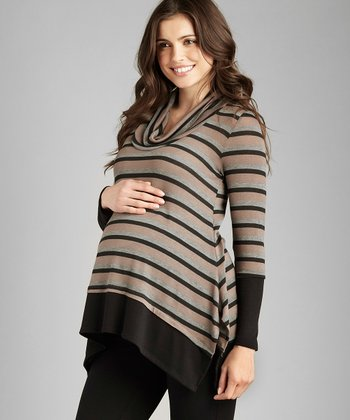 Beige & Black Stripe Maternity Sweater