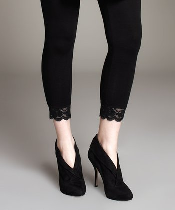 Black Lace Hem Under-Belly Maternity Leggings