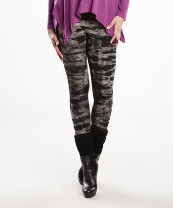 Black Tie-Dye Under-Belly Maternity Leggings