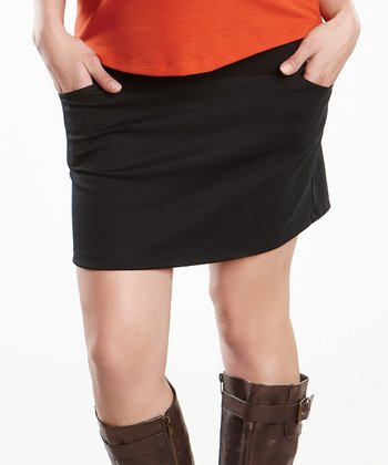 Black Maternity Over-Belly Mini Skirt