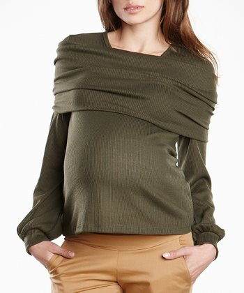 Forest Maternity Cowl Neck Sweater