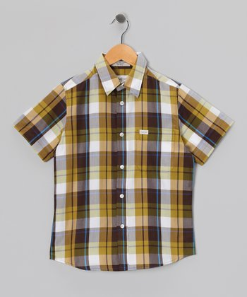 Natural Arneld Short-Sleeve Button-Up - Boys