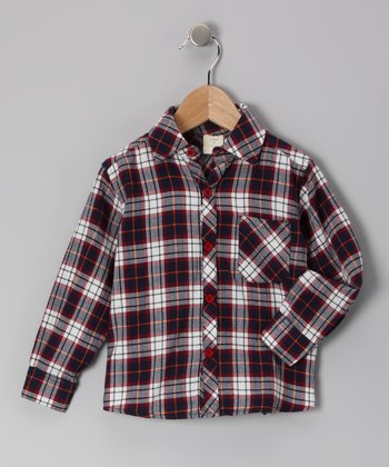 Navy Plaid Organic Button-Up - Toddler & Boys