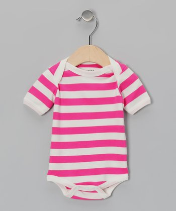 Fuchsia & White Stripe Organic Bodysuit - Infant