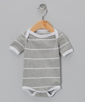 Gray & White Stripe Organic Bodysuit - Infant