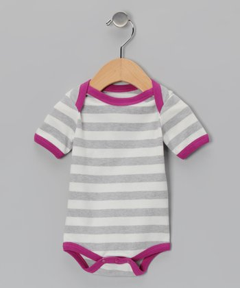 Gray & Purple Stripe Organic Bodysuit