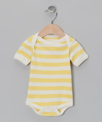Yellow & White Stripe Organic Bodysuit - Infant