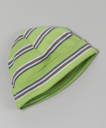 Green & Blue Stripe Organic Beanie