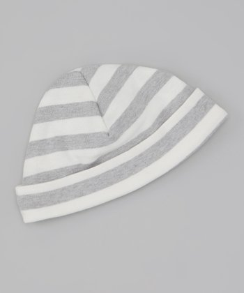 Gray & White Stripe Organic Beanie