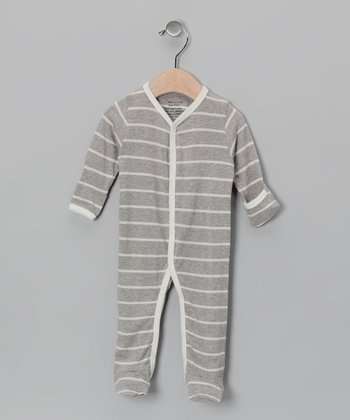 Gray & Natural Stripe Organic Footie - Infant