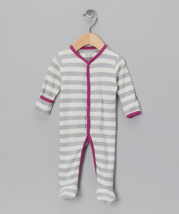 Gray & Purple Stripe Organic Footie - Infant