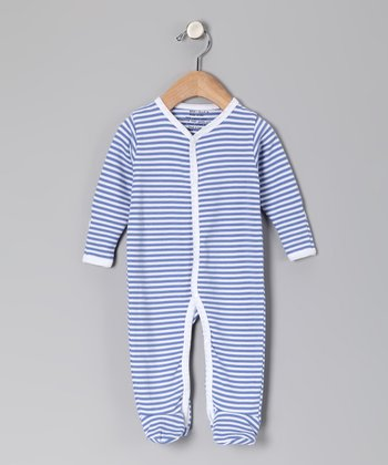 Lilac & White Stripe Organic Footie