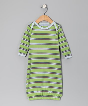 Green & Blue Stripe Organic Gown