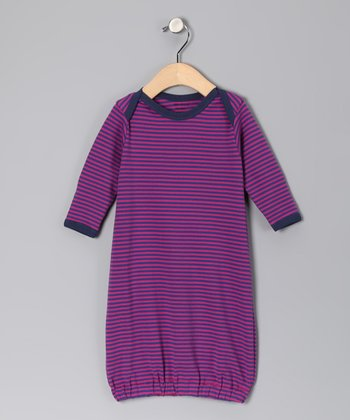 Pink & Purple Stripe Organic Gown - Infant