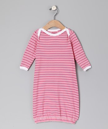 Salmon Stripe Organic Gown