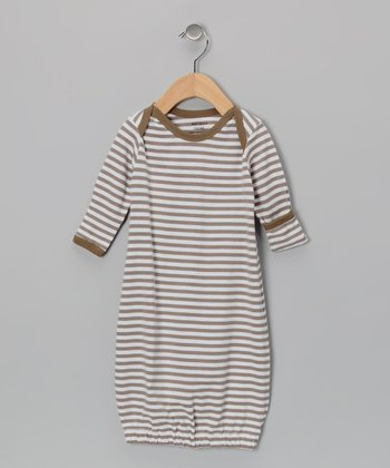 Tan & White Stripe Organic Gown