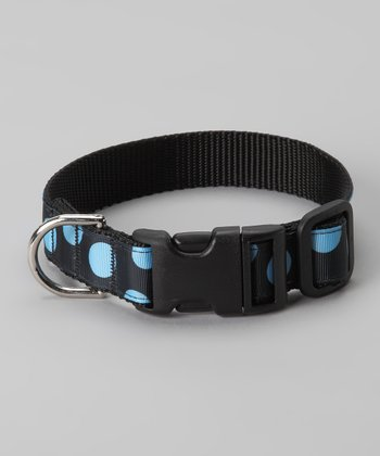 Black & Blue Polka Dot Dog Collar