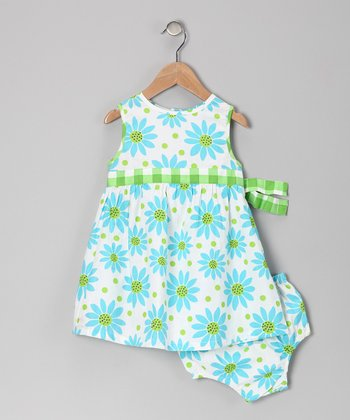 Green Floral Dress & Diaper Cover - Infant