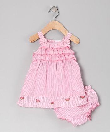 Mayfair Pink Ruffle Seersucker Dress & Diaper Cover - Infant