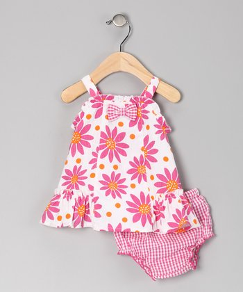 Pink Flower Seersucker Dress & Diaper Cover - Infant