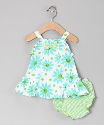 Green Flower Seersucker Dress & Diaper Cover - Infant