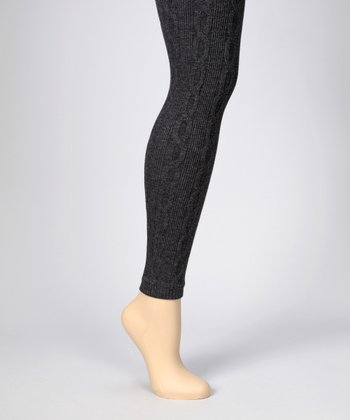Dark Heather Gray 3-D Cable-Knit Leggings