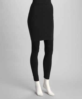 Black Simplicity Skirted Leggings