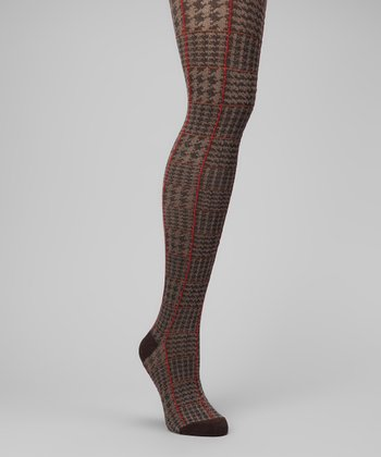 Brown Heather Houndstooth Sweater-Knit Tights