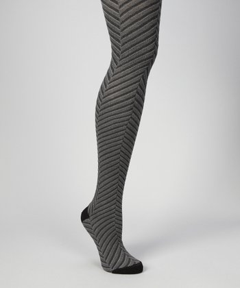 Black Optic Chevron Tights - Women