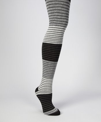 Black Shaded Stripe Tights - Women