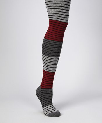 Cabernet Shaded Stripe Tights - Women