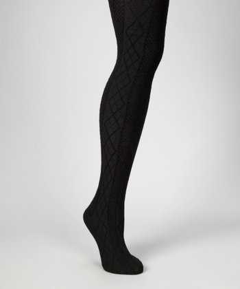 Black Crossing Diamond Sweater-Knit Tights - Women