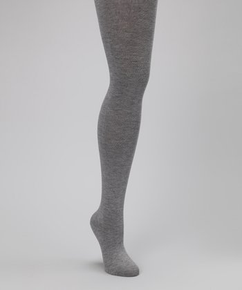 Light Gray Wool-Blend Tights