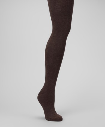 Brown Heather Sweater-Knit Tights - Plus