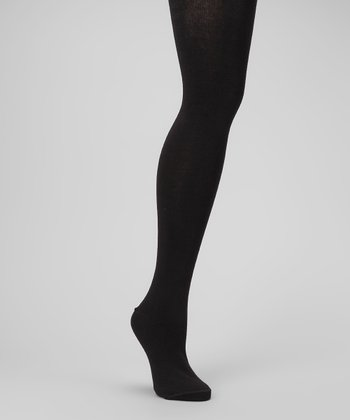 Black Sweater-Knit Tights - Women