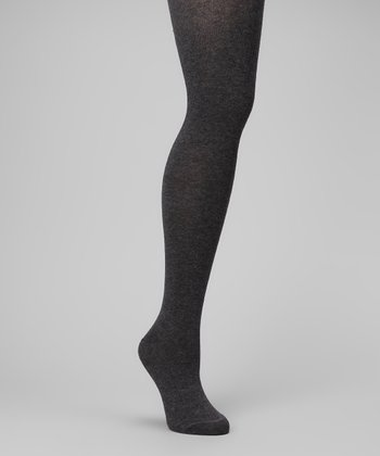 Dark Gray Heather Sweater-Knit Tights - Women & Plus