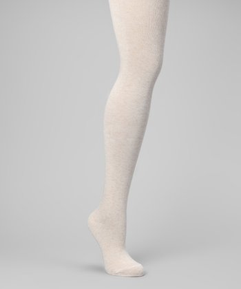 Oatmeal Sweater-Knit Tights - Women