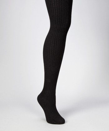 Black Ribbed Sweater-Knit Tights - Women & Plus