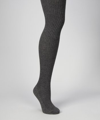Dark Gray Heather Ribbed Sweater-Knit Tights - Women & Plus