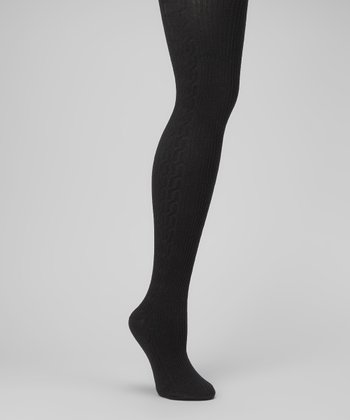 Black Side-Cable Sweater-Knit Tights - Women
