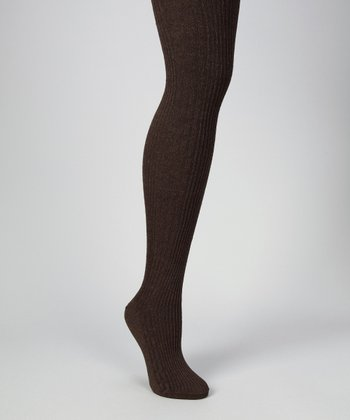 Brown Heather Cable-Knit Tights - Women