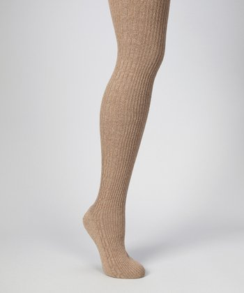 Light Taupe Heather Cable-Knit Tights - Women
