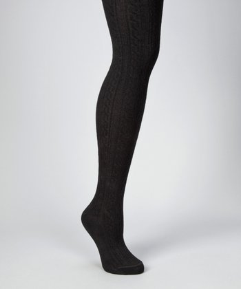 Black Textured Sweater-Knit Tights - Women