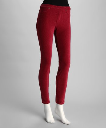 Red Thin Ribbed Corduroy Leggings